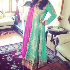 Other - Pink and Green Georgette Anarkali Heavy
